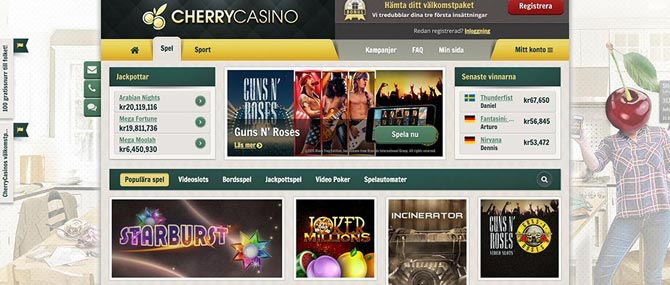Free spins på Cherry Casino